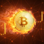 Golden,Bitcoin,Coin,In,Fire,With,Bull,Trading,Stock,Chart.